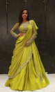 Liril Green Soft Silk Indo Western Lehenga Set Clothing With Ruffle Dupatta For Women Online - Emiraas By Indrani