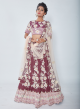 Wine Coloured China Dupian Designer Lehenga With Pink Net Dupatta For Women Online - Emiraas By Indrani
