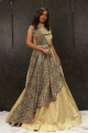 Fusion Soft Silk Beige Indo Western Gown With Patola Print For Women Online - Emiraas By Indrani