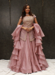 Onion Pink Organza Lehenga With Peplum Top For Women Online - Emiraas By Indrani