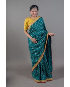 Bottle Green Printed Saree with Bright Yellow Blouse
