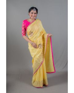 Light Yellow Designer Sarees With Fuschia Pink Blouse For Women Online - Emiraas By Indrani
