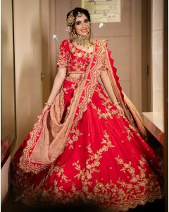 Coral Red Bridal Lehenga For Women Online   Emiraas by Indrani